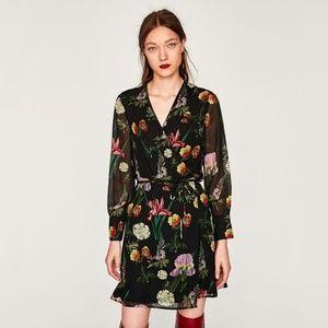 Zara SS17 Mini Floral Printed Wrap Dress